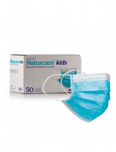 Mascarilla infantiles con gomas - naturcare (50 unidades azules)