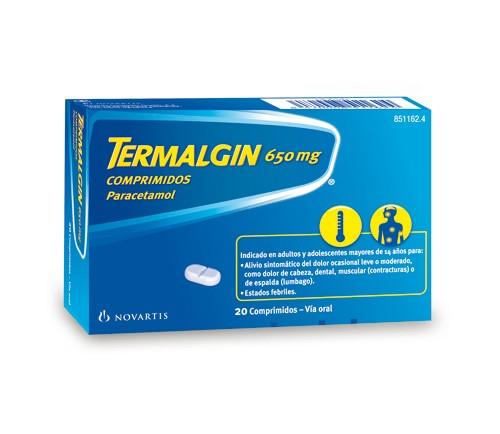 TERMALGIN 650 mg COMPRIMIDOS, 20 comprimidos