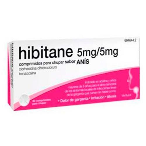 HIBITANE 5MG/5MG COMPRIMIDOS PARA CHUPAR SABOR ANIS , 20 comprimidos