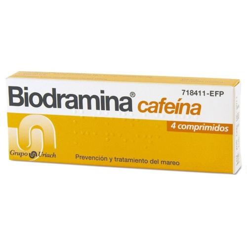 BIODRAMINA CAFEINA COMPRIMIDOS RECUBIERTOS , 4 comprimidos