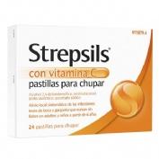STREPSILS CON VITAMINA C PASTILLAS PARA CHUPAR , 24 pastillas